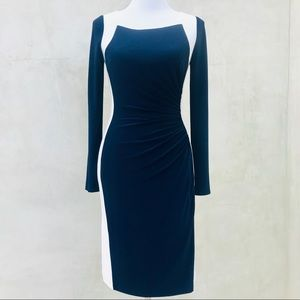 Ralph Lauren Long Sleeve Ruched Sheath Dress EUC